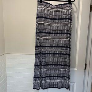 Navy blue print maxi skirt